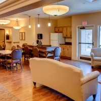 Beautiful living room in a resident wing at Parkview Memory Care at Wheatland Village.