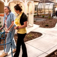 Secured outdoor courtyard walking paths at Parkview Memory Care at Wheatland Village