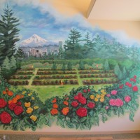 Beautiful mural of the Portland International Rose Test Garden at Parkview at CherryWood Village.