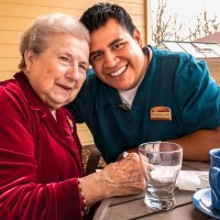 Resident and Employee at home at Parkview at Wheatland Village.
