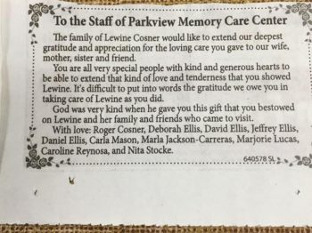 Thank you ad from the family of Lewine Cosner